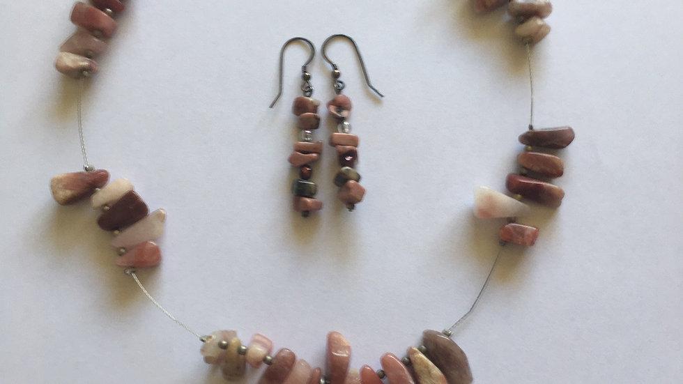 Custom made Rhodonite Crystal Necklace and Earrings