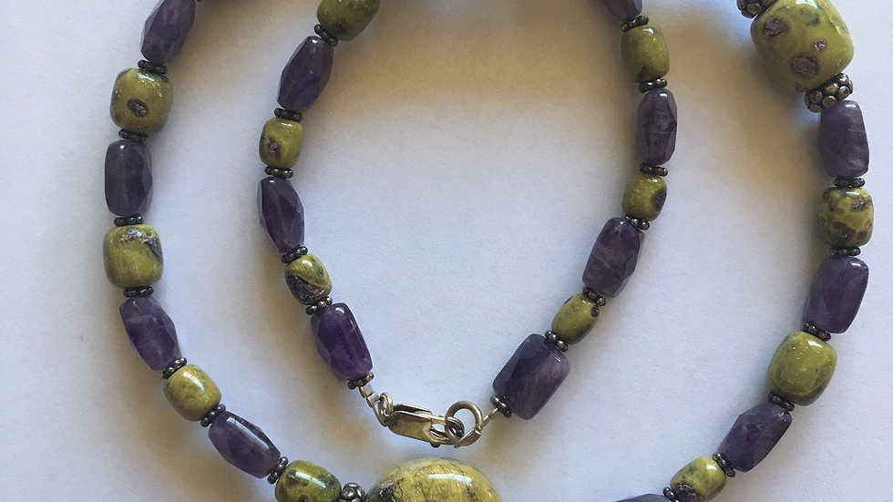 Custom made Serpentine Stitchtite and Amethyst Crystal Necklace