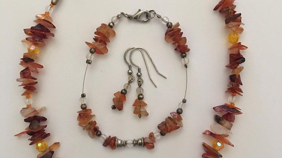 Carnelian Crystal Necklace, bracelet and earrings