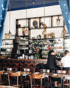 The bar at Cafe Rue Dix