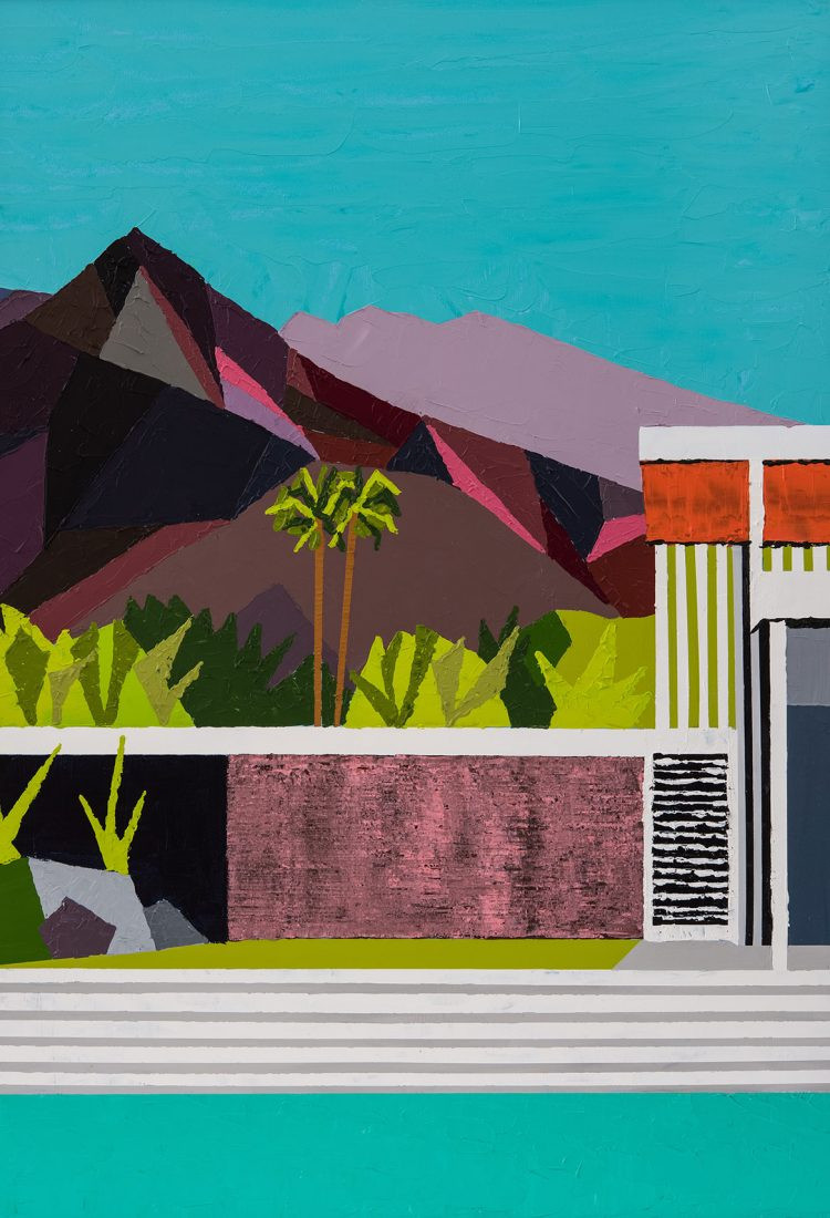 Jackson, Paul. Detail of Kaufmann House, Palm Springs, California. 2019. Giclee limited edition print from an original acrylic on board painting by Paul Jackson. Original measures 15 x 21 inches.