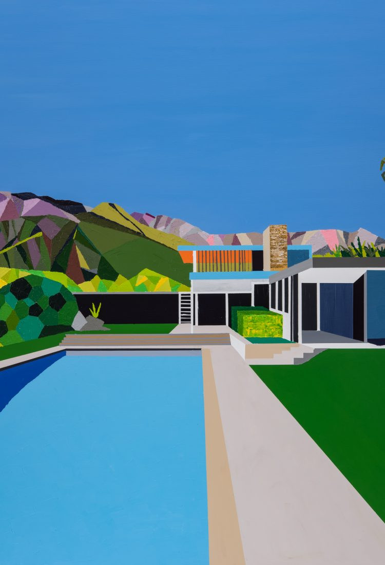 Jackson, Paul. Kaufmann House, Palm Springs, California. 2019. Giclee limited edition print from an original acrylic on canvas painting by Paul Jackson. Original measures 42 x 42 inches.