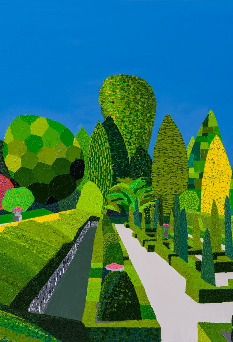 Jackson, Paul. Thornbridge Hall Gardens. Giclee limited edition print from an original acrylic on canvas painting by Paul Jackson. Framed original measures: 33.5 x 33.5 inches. Image courtesy of Paul Jackson.