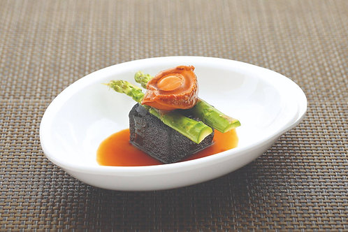Braised Baby Abalone with Charcoal Tofu 碳粉豆腐珍珠鲍