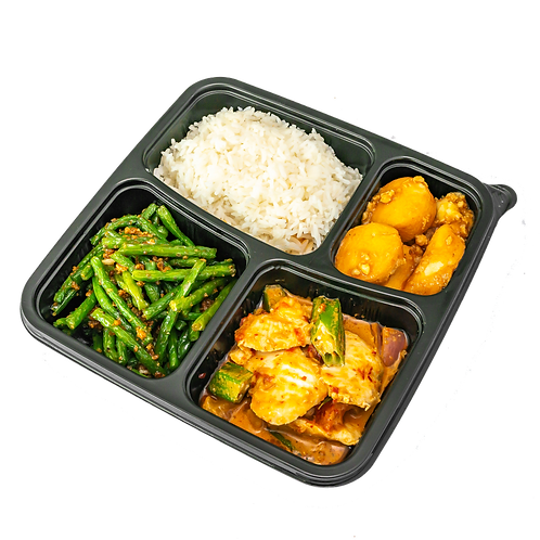 Assam curry fish rice with French Beans and Tofu
