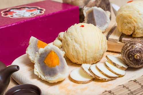 AUTHENTIC CRISPY YAM PASTE WITH SINGLE YOLK MOONCAKE (BOX OF 4) 龍鮮單黃芋泥酥皮朝洲月饼