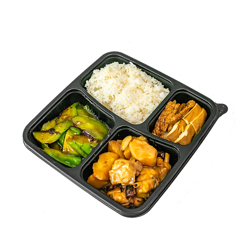 Braised chicken with potato rice, Bitter Gourd and Tofu/Toubok