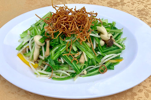 Fried Royale Chives with Bean Sprout and Crispy Dried Cuttlefish 魷丝银芽青龙菜