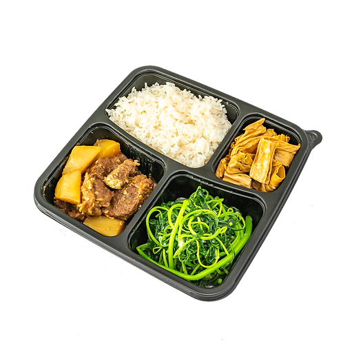 Braised beef brisket rice, Chinese Spinach with Anchovies and Braised Beancurd