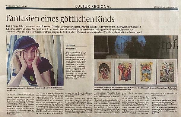 Divine Enfant newspaper review, exhibition at the Kunstverein Kunstraum Westpfalz KL, visual artist 2021