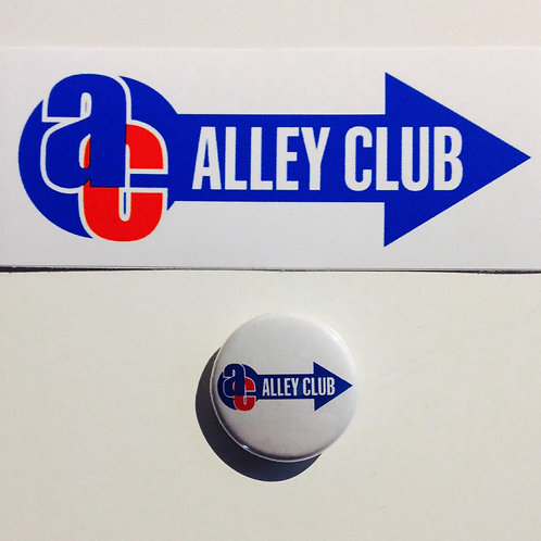 Alley Club sticker and badge set