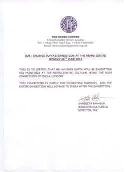 Exhibition Letter Kaushik Gupta 24 to 28 2013  june London
