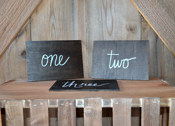 Thin Wood Table Numbers