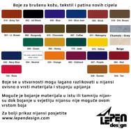 boje za brušenu kožu, tekstil i patina