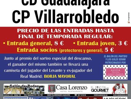 Este es el cartel del partido de este jueves entre el CP Villarrobledo y el CD Guadalajara