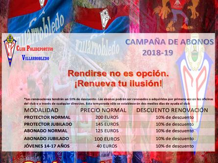 El CP Villarrobledo lanza su campaña de abonados con el lema: 'Rendirse no es opción'
