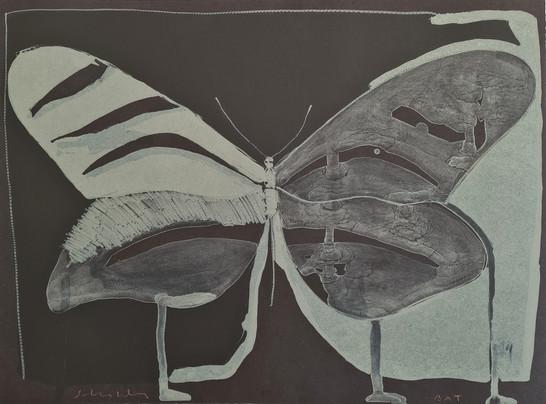 """""""Night Butterfly"""" Original lithograph BAT By Fritz Scholder."""