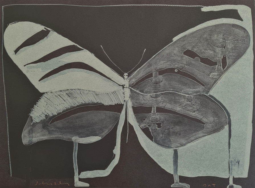"""""""Night Butterfly"""" by Fritz Scholder  Lithograph BAT, 1974.    Size  22H"""" x 30W""""  559H x 762W mm"""