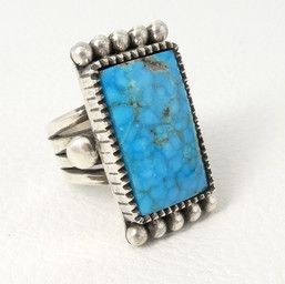 R2 Kingman Turquoise and silver ring