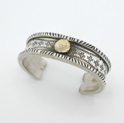 C17 Heavy weight  silver cuff with 14ct gold detail