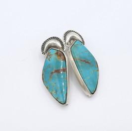 Mike Bird Romero silver figurative earrings with Nevada turquoise