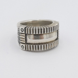 Heavy set Coin silver ring by Steven Tiffany.