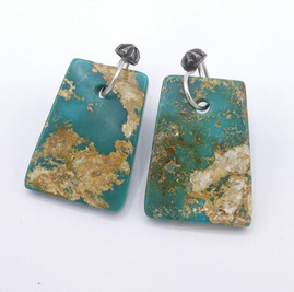 Piki Wadsworth - natural green turquoise stone earrings with hand-made silver hooks.