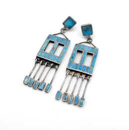 Channel  inlay blue gem turquoise and silver earrings