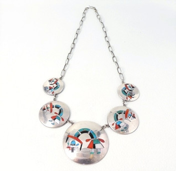 Exquisite Zuni vintage ceremonial figure inlay and silver necklace
