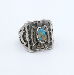 Vintage stamped Navajo thunderbird signet ring set with turquoise