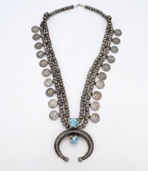 Mike Bird-Romero- Mercury dime necklace with #8 turquoise.