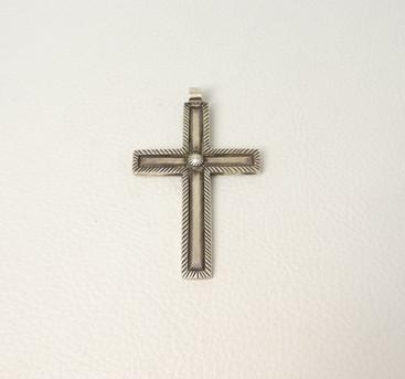 Silver contemporary Navajo cross pendant
