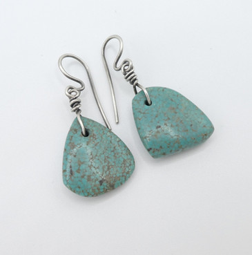 Lovely soft green vintage Navajo turquoise tabs with silver.