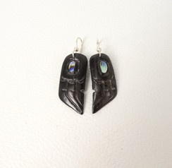 Black ebony carved earrings with abolone inlay by artist Patty Fawn