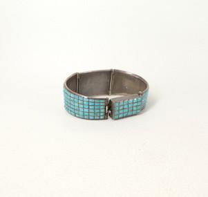 Vintage Zuni watch band bracelet set with tiny, rectangular, coble stone inlay turquoise stones