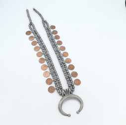N12 Squash necklace with vintage Indian copper coins
