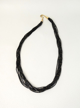 Fine jet and gold liquid heishi necklace