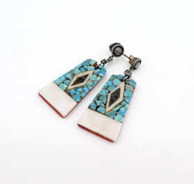 Vintage turquoise chip inlay and silver earrings