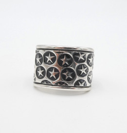 Lovely wide silver star stamped band by contemporary Navajo artist Cody Sanderson