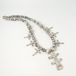 N4 Silver cross and trade beads necklac