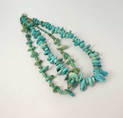 Selection of early turquoise tab necklaces