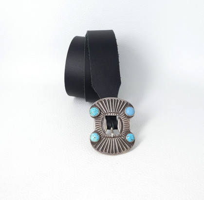 Vintage 1920's Navajo silver stamped buckle with turquoise and one Hubble glass bead