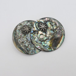 E1 Abalone discs with silver buttons earrings