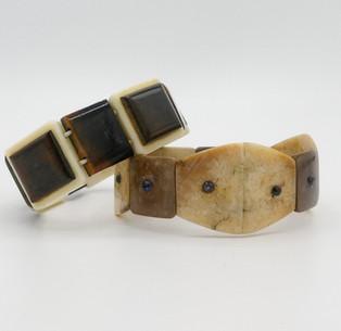 Vintage Inuit fossilised marine ivory bracelets.