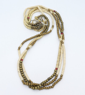 Rare 1880-1910's Plains Plateau shell, brass and glass beads three strand necklace