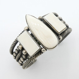 C4 Fossilised Walrus ivory and silver cuff