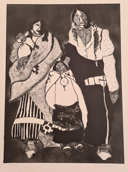 """""""American Family"""" by Fritz  Scholder Edition 29/115, 1974. Size 30H"""" x 22W"""" 762H x 559Wmm"""