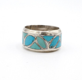 Vintage Zuni channel inlay turquoise and silver band