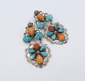 Amazing vintage Navajo two tier earrings with multi coloured stone.