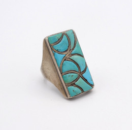 Vintage Zuni coble stone inlay and silver ring, circa 1970's
